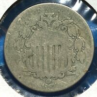 1867 5C Shield Nickel, Without Rays (57314)
