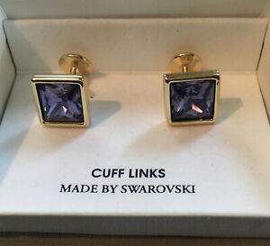 VINTAGE NOS SWAN SIGNED SWAROVSKI PURPLE CRYSTAL CUFF LINKS SKU122822P