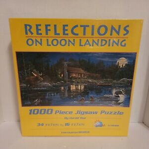 """Reflections On Loon Landing 1000pc Puzzle 34"""" X 16"""" Ducks, Moon, Water, Moose"""
