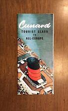 Cunard Line Tourist Class to Europe Brochure w/ Interior Photos