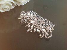 SILVER BRIDAL HAIR COMB Vintage Accessory Crystal Wedding Girl Bridesmaid Clip