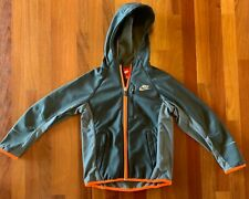 NIKE Boys Dark Gray with Orange Trim Hooded Track Jacket size Small 7/8 EEUC