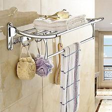 Chrome Wall Mount Towel Rail Rack Tower Bar Bathroom Hotel Holder Storage Shelf