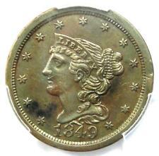 1849 Braided Hair Half Cent 1/2C Coin - Certified PCGS AU Detail - Rare!