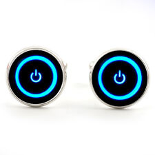 ON OFF POWER SWITCH CUFFLINKS  SILVER PLATED + FREE GIFT BOX  & 1ST CLASS POST