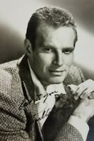 Vintage Charlton Heston Signed Hollywood Actor Publicity Picture