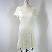 Free People Dress M/L White Lace Floral Fit Flare Short Sleeve Hippie Boho J26