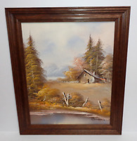 Vintage Oil Painting Canvas Landscape Lake House Cabin Woods Framed and Signed