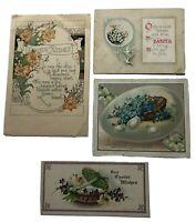 Vintage Victorian Easter Card lot of 4 Chicks Eggs Baskets Doves Flowers