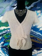 MAXMARA Cardigan - Cotton Linen Boho Hippy Cream Wrap Tie Designer Knit - S/8/10