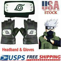 Naruto Headband Leaf Village Headband And Cosplay Gloves Hatake Kakashi Ninja US