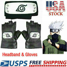 3X Naruto Headband Leaf Village Headband and Cosplay Gloves Hatake Kakashi Ninja