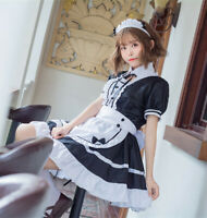 Lolita Black Maid Skirt Gothic Girl Suit JK Uniform Cosplay Costume Dress Japan