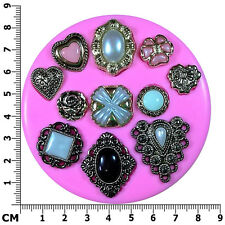 Vintage Victorian Brooches Diamond Teardrop Silicone Mould by Fairie Blessings