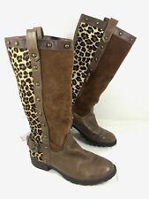 Steve Madden Knee high Riding boots Brown Denmar Leopard Pony hair Sz 5.5 M