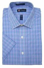 Mens Short Sleeve Shirt Chaps Regular Fit Easy Iron Violet Mix Check
