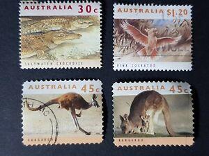 Australia: 1992/4 Wildlife; incomplete fine used set (4 values); kangaroo, croc