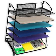 Desktop File Holder Desk Metal Organizer Wire Mesh Sorter Office Shelf 6 Trays