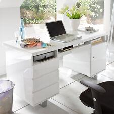 Schreibtisch Sydney Büro Computertisch weiß Hochglanz Lack Schubkästen 140x60