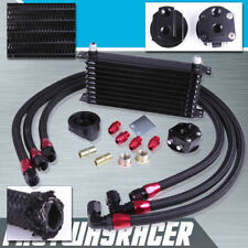 Universal 10 Rows Oil Cooler Kit + Oil Relocation Kit 3/4X16 UNF Block Adapter