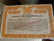 General Tin Investments, LTD # NYO506 A British Corporation