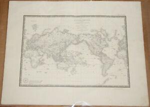 "Original 1836 World Projection - Brue Atlas 26"" x 21"" Huge map - Antique"