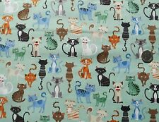 Crafty Cats Crowd on teal fabric fq 50 x 56 cm Makower MK1724T 100% Cotton