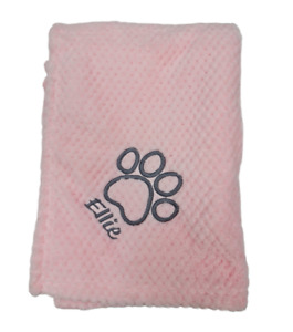 PERSONALISED DOG/PUPPY  waffle FIRST BLANKET paw print  EMBROIDERED new 2021