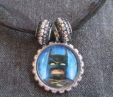 Black Ribbon Bottle Cap Bling Charm Necklace Sparkle Beads Lego Batman Superhero