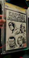 Stan Lee Signed CGC 9.6 SS Captain America #1 Signed 5X & Sketched Art 4X Bagley