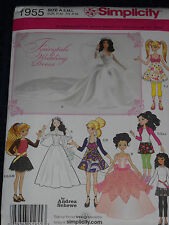 Simplicity 1955 Barbie Bratz 3 Sizes Doll Clothes Wedding Gown Sewing Pattern*
