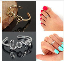 Women's Fashion  2 (TWO)'' Love'' Adjustable Finger Toe Open Ring Beach Jewelry