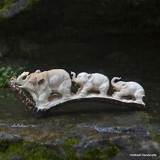 Elephants Group Carved 198mm Length in Deer Antler Carving ST537 Table Decor