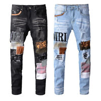 Men's Embroidery Patchwork Stretch Ripped Leopard print Skinny Fit Denim Jeans