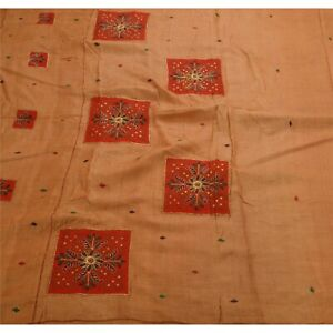 Tcw  Vintage  Sarees Pure Silk Hand Embroidered Brown 5Yd Fabric Sari