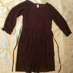 Justice Burgundy Rose Patterned Dress - Girls Size 12 - Beautiful!