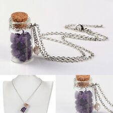 Wish Bottle Amethyst Chip Glass Necklace Healing Crystal Gemstone Metaphysical
