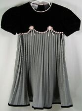 Youngland Black Velvet Pleated Check Floral Pink Dress Size 6