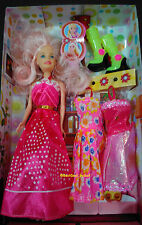 Barbie Doll Set with Beautiful Trendy Dresses + Shoes/comb for your lovely kids