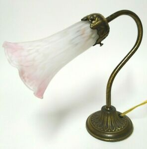 """Small Vintage Victorian Style Desk Lamp w Pink Accented Fluted Shade 8.75"""" tall"""