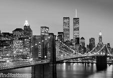 New York City Manhattan Skyline Night 8 Part Photo wall mural wallpaper 366x254