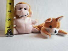 Vintage Imperial Toy Co Small mini fox and monkey Beanbag Plush Stuffed Animals