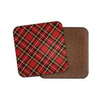 Red Tartan Coaster - Scottish Kilt Fabric Scotland Cool Scot Uncle Gift #15842