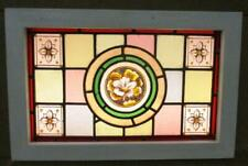"VICTORIAN ENGLISH LEADED STAINED GLASS WINDOW Hand Painted Flower 19.25"" x 12.5"""