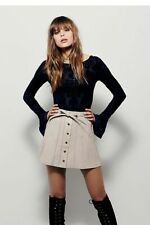 Free People 6 Beige Leather Snap Front A-Line Mini Skirt