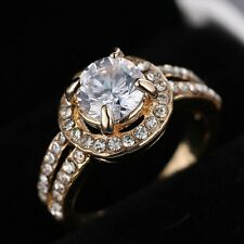Women Fashion Cubic Zirconia Gold Wedding Bridal Jewelry Engagement Ring Size 8