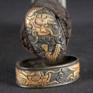 Japan antique Dragon with Tsuka Fuchi Kashira Copper sword tsuba katana kozuka