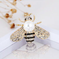 Duovin Fashion Bee Pearl Crystal Women Piercing Breastpin Brooch Pin Jewelry New