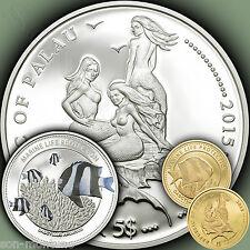 Silver+Gold 2 Coin Set - WHITETAIL DAMSELFISH Marine Life Protection 2015 PALAU
