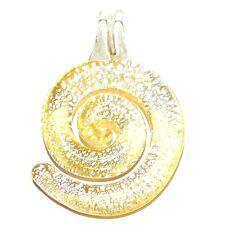 P2631f Yellow w Silver Foil Swirl 43mm Lampwork Glass Drop Pendant